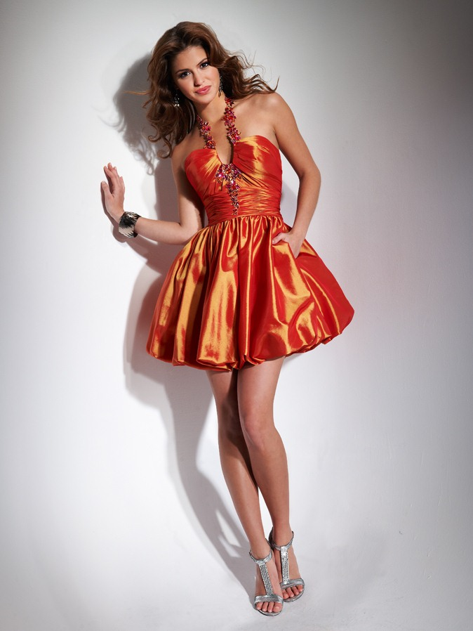 Orange Red Halter And V Neck Low Back A Line Short Mini Homecoming Dresses With Beading And Drapes