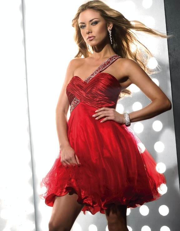 Red Empire One Shoulder Low Back Short Mini Pleat Tulle Cocktail Dresses
