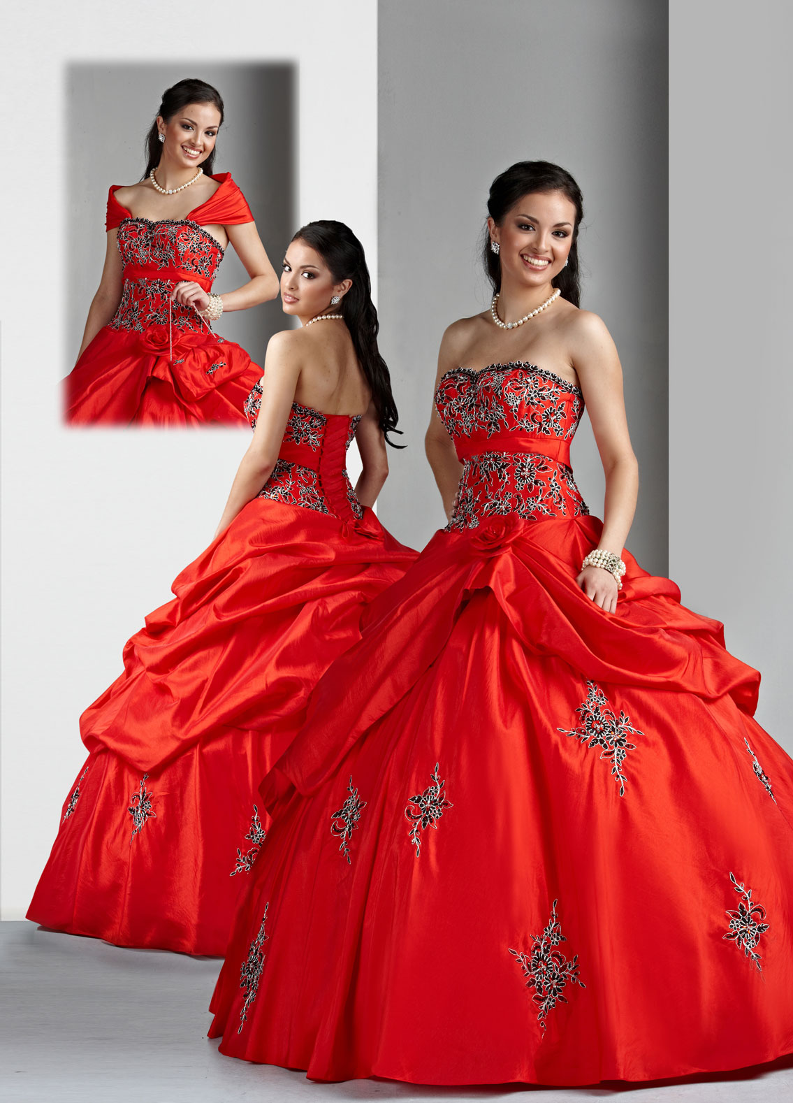 Scarlet Ball Gown Strapless Lace Up Floor Length Black And White Embroidered Quinceanera Dresses