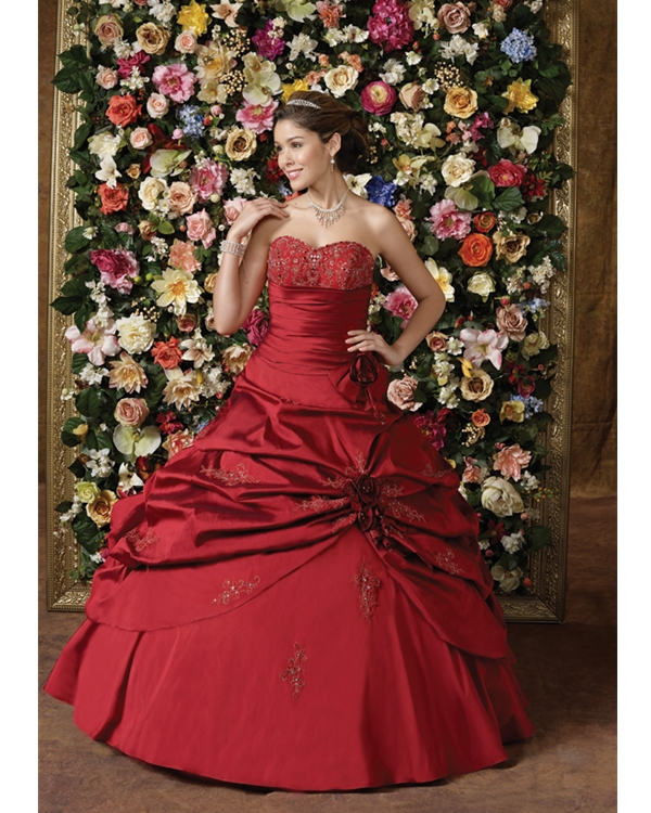 Red Ball Gown Sweetheart Lace Up Floor Length Quinceanera Dresses With Beading And Ruffles And Flowers