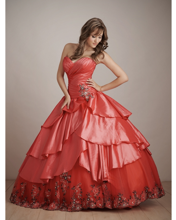 Red Ball Gown Sweetheart Lace Up Floor Length Embroidered Quinceanera Dresses