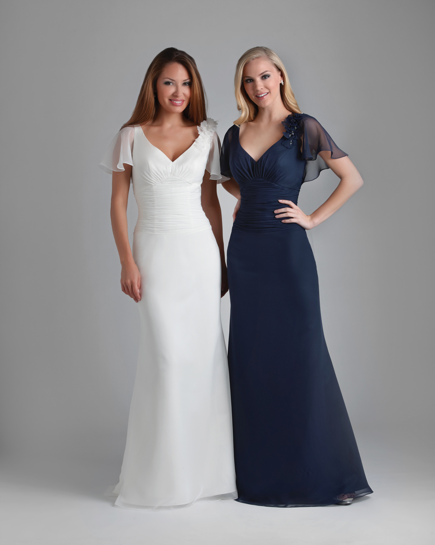 Dark Navy Column V Neck And Short Sleeves Floor Length Chiffon Prom Dresses With Flowers And Drapes