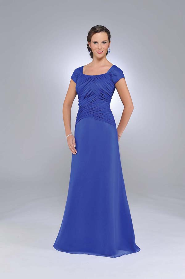 Royal Blue Square Neckline And Short Sleeves Zipper Full Length A Line Mother Of Bride Dresses With Drapes