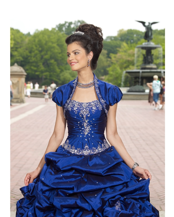 Royal Blue Ball Gown Strapless Lace Up Floor Length Beading Embroiderd And Ruffled Quinceanera Dresses