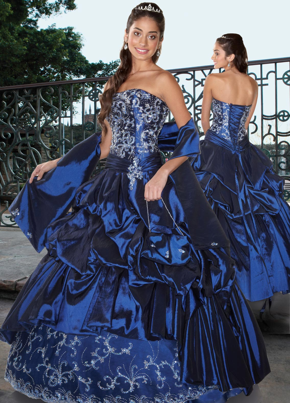 Royal Blue Strapless Lace Up Floor Length Ball Gown Quinceanera Dresses With Beading Embroidery And Ruffles