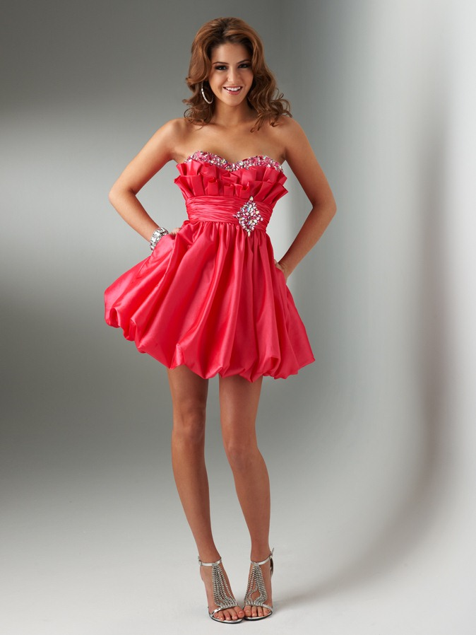 Watermelon Empire Strapless Sweetheart Low Back Pleated Short Mini Homecoming Dresses