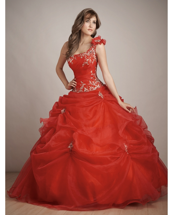 Scarlet Ball Gown One Shoulder Zipper Full Length Quinceanera Dresses With Embroidery And Twist Drapes