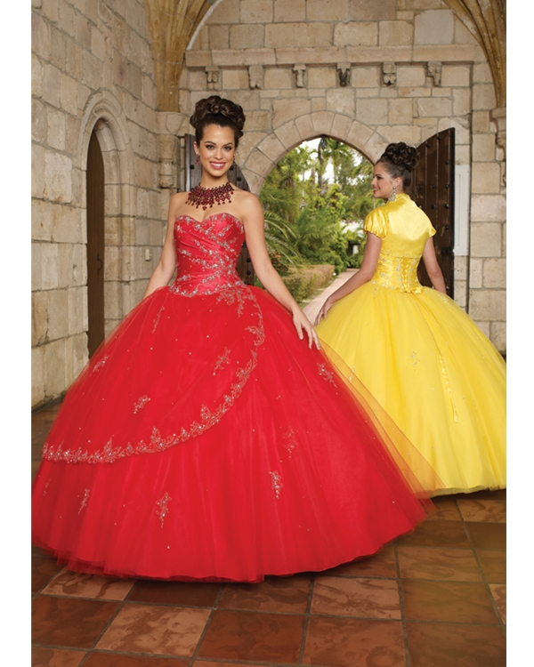 Scarlet Ball Gown Strapless And Sweetheart Lace Up Floor Length Embroidered Tulle Quinceanera Dresses