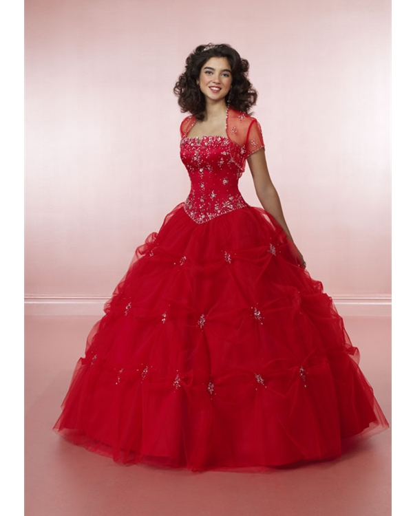 Scarlet Ball Gown Strapless Lace Up Full Length Quinceanera Dresses With Beading And Twist Drapes