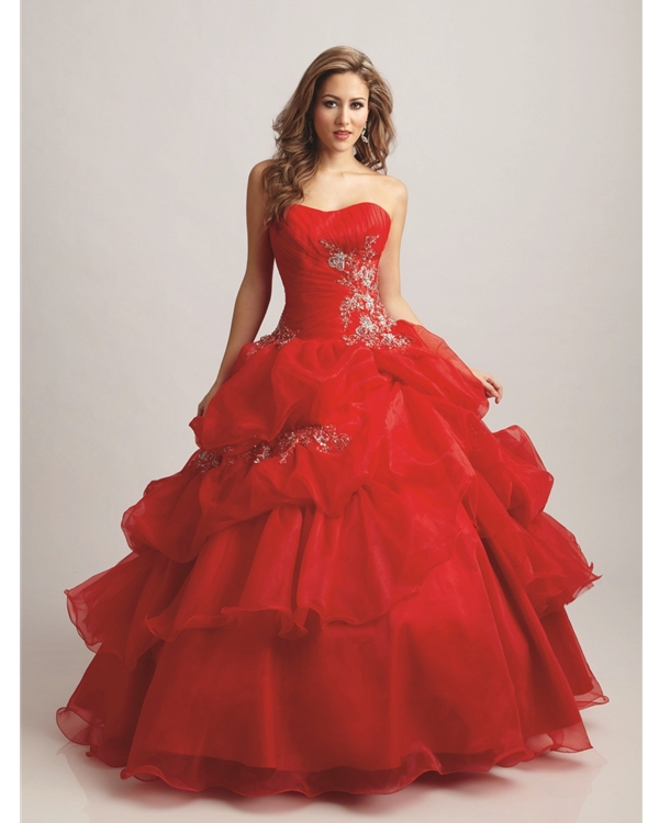 Scarlet Ball Gown Strapless Sweetheart Lace Up Full Length Quinceanera Dresses With Embroidery And Ruffles