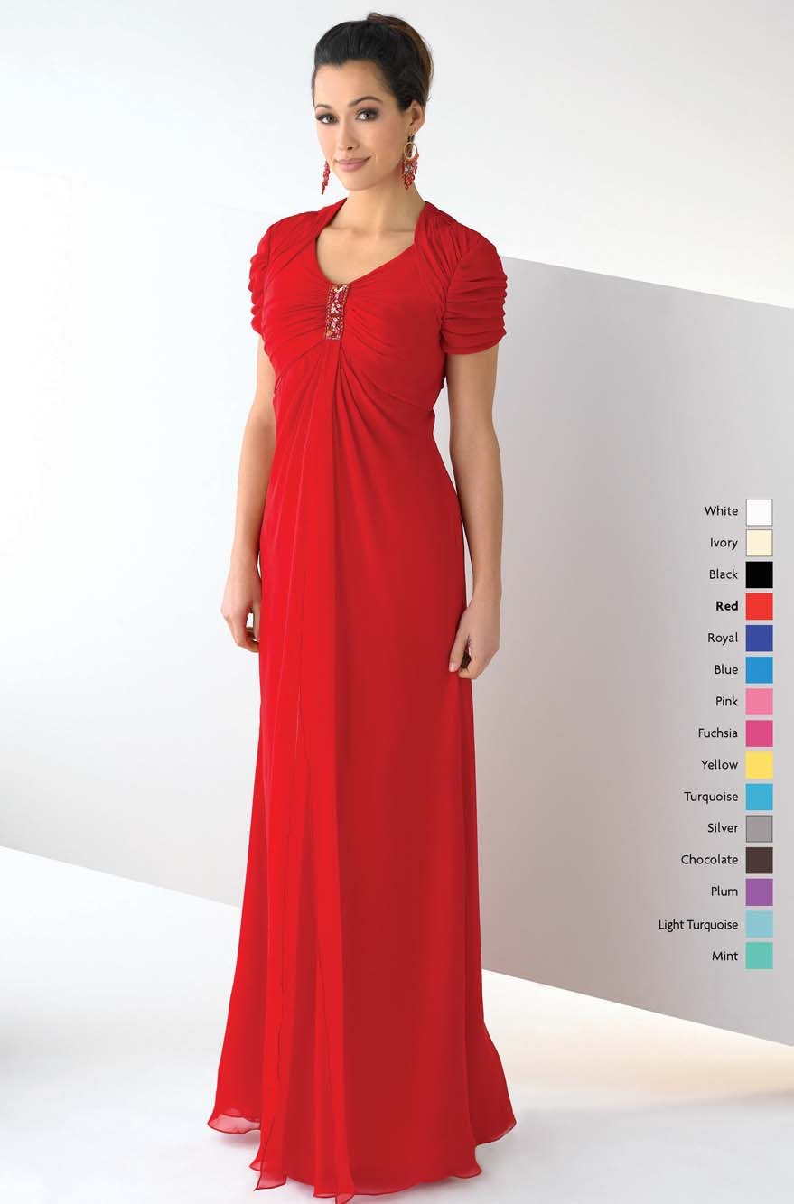 Scarlet V Neck Short Sleeve Zipper Floor Length Column Mother Of Bride Dresses With Beading And Ruffles
