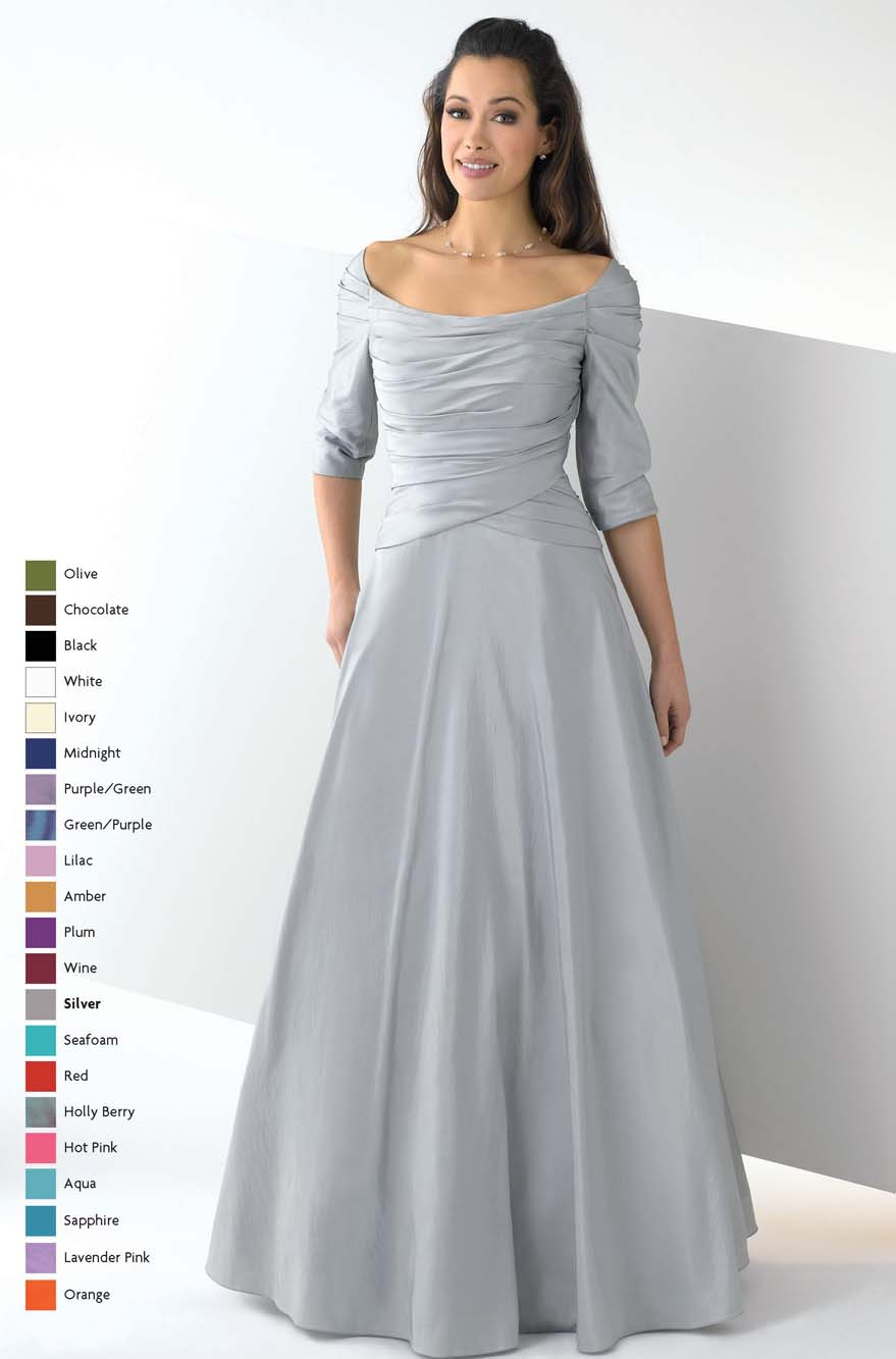 Silver Off The Shoulder And Half Sleeve Floor Length A Line Mother Of Bride Dresses With Drapes
