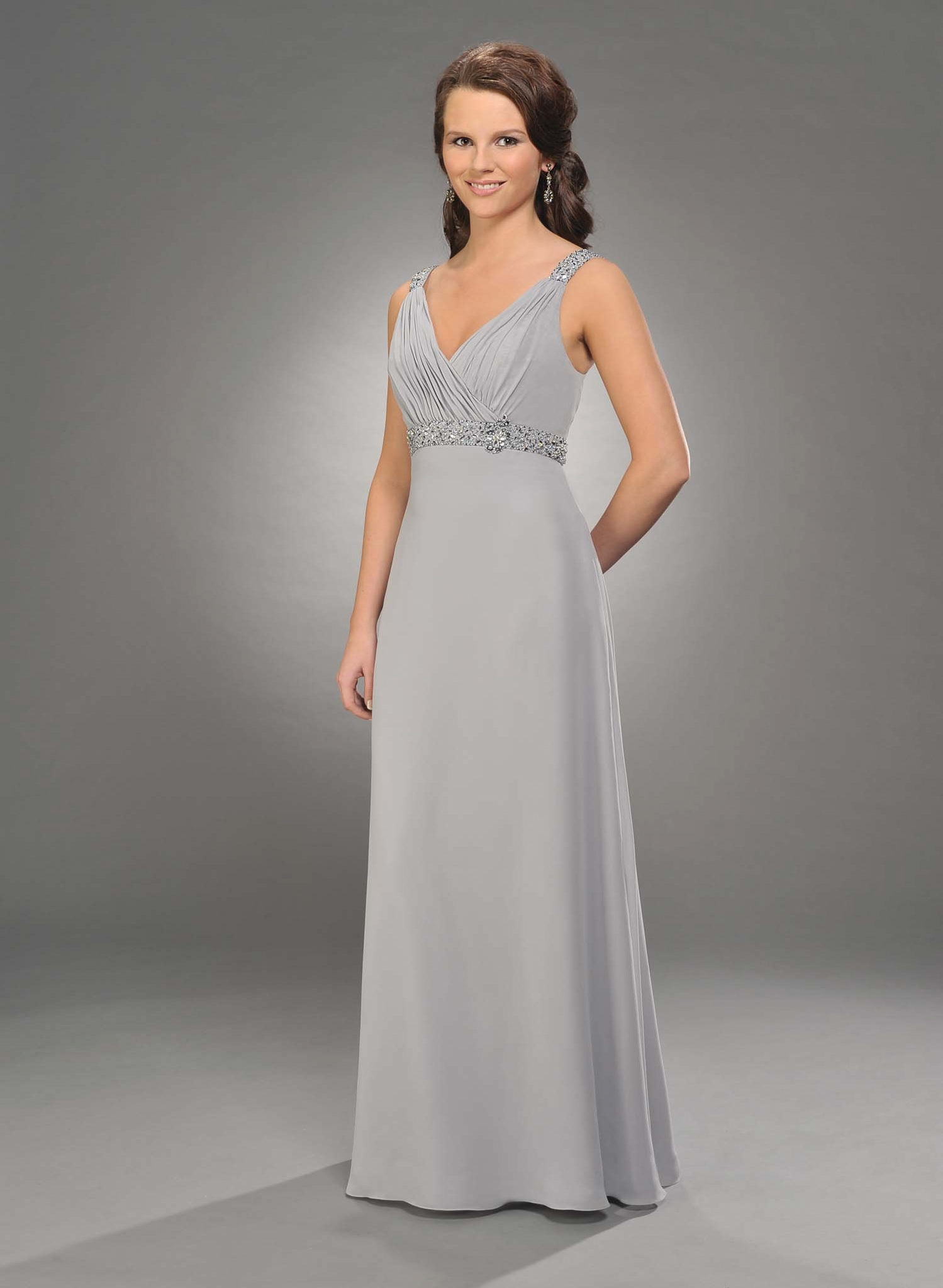 Silver Empire V Neck And Strap Low Back Full Length Chiffon Prom Dresses With Beading And Drapes