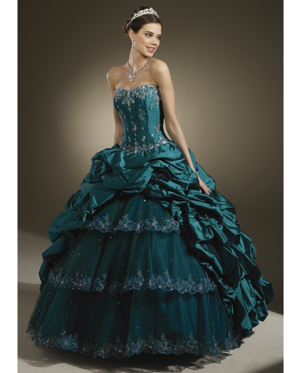 Teal Ball Gown Strapless Lace Up Full Length Quinceanera Dresses With Beading Embroidery And Ruffles