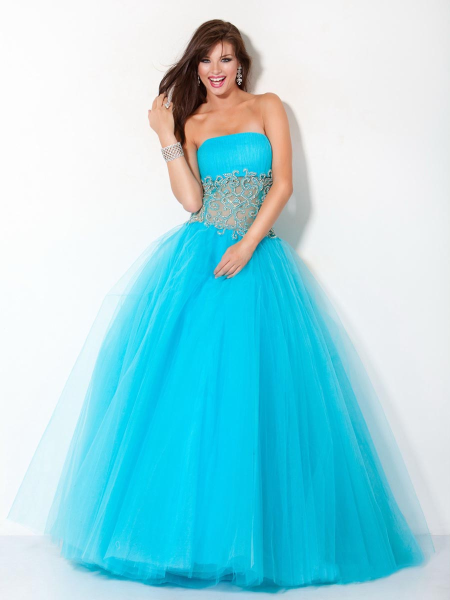 Turquoise A Line Strapless Zipper Floor Length Tulle Graduation Dresses With Lace Waist