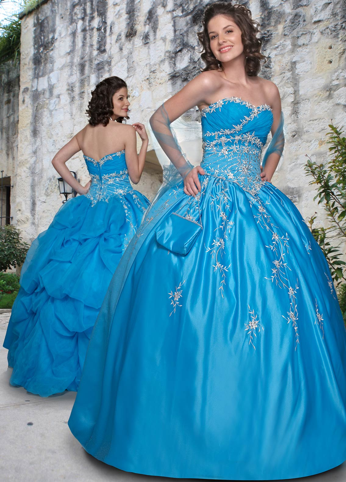 Turquoise Ball Gown Strapless Zipper Floor Length Beading Embroidered Quinceanera Dresses