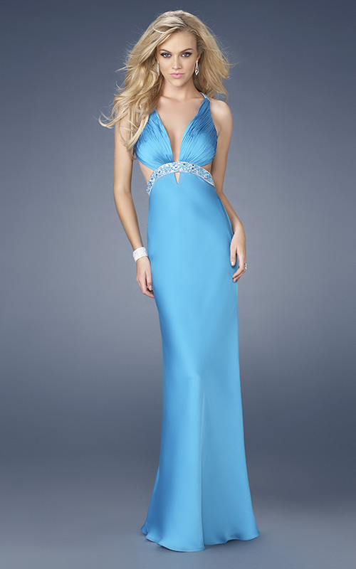 Blue Column Deep V Neck Cross Back Beading Pleats Full Length Evening Dresses