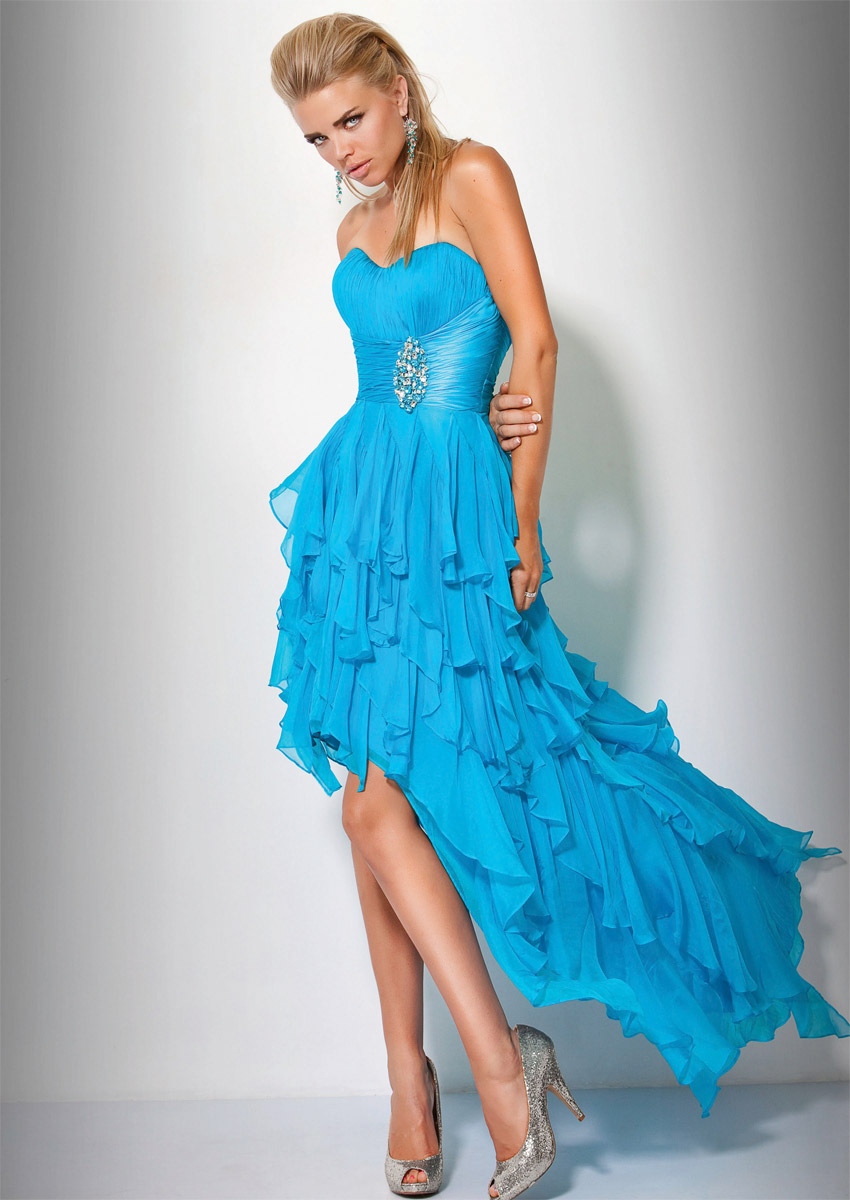 Turquoise Strapless Sweetheart Hi Low Tiered Graduation Dresses With Beading And Ruffles
