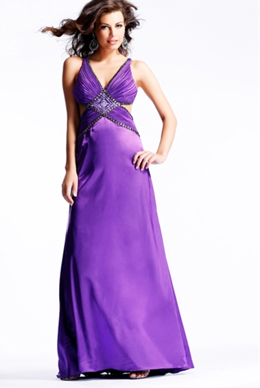 Violet A Line V Neck Ruches And Beading Floor Length Evening Dresses