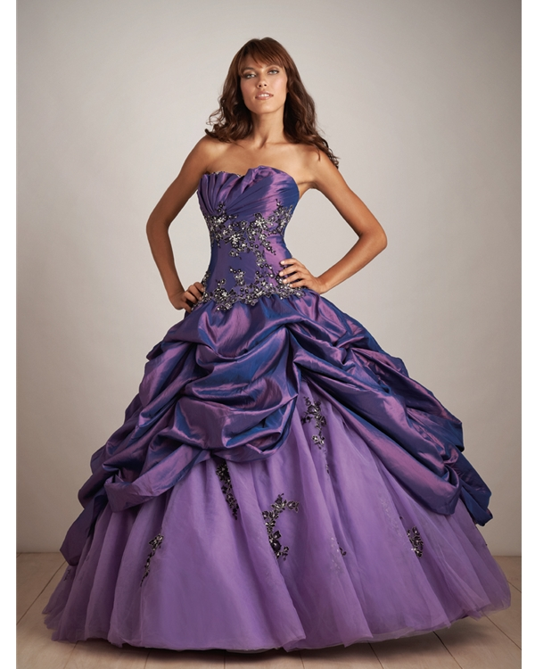 Purple Ball Gown Strapless Lace Up Full Length Satin Quinceanera Dresses With Appliques And Twist Drapes