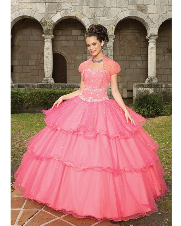 Watermelon Strapless Lace Up Floor Length Tired Ball Gown Quinceanera Dresses With Sequins And Pleats