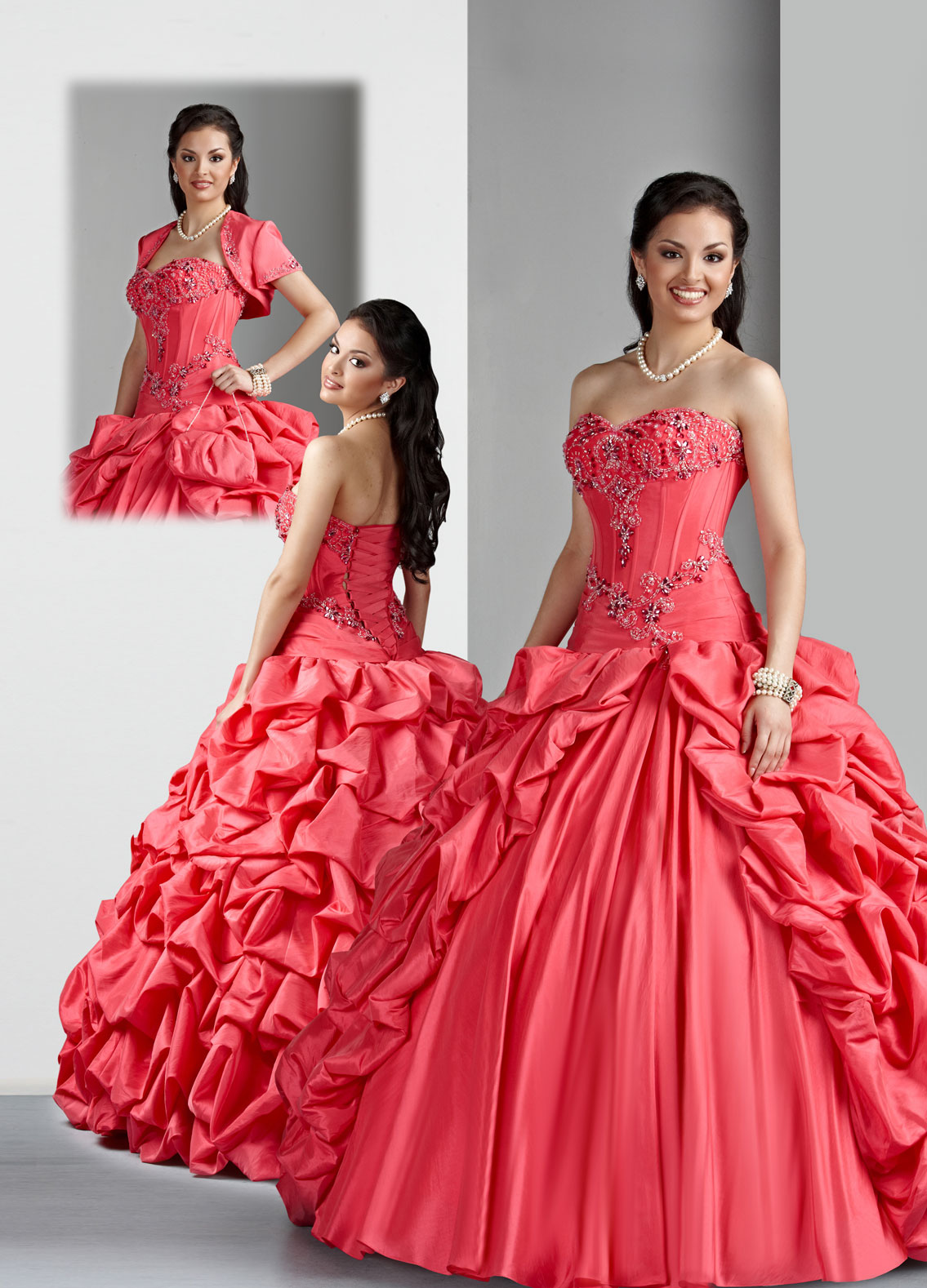 Watermelon Ball Gown Sweetheart And Strapless Lace Up Floor Length Embroidered Ruched Tatteta Quinceanera Dresses
