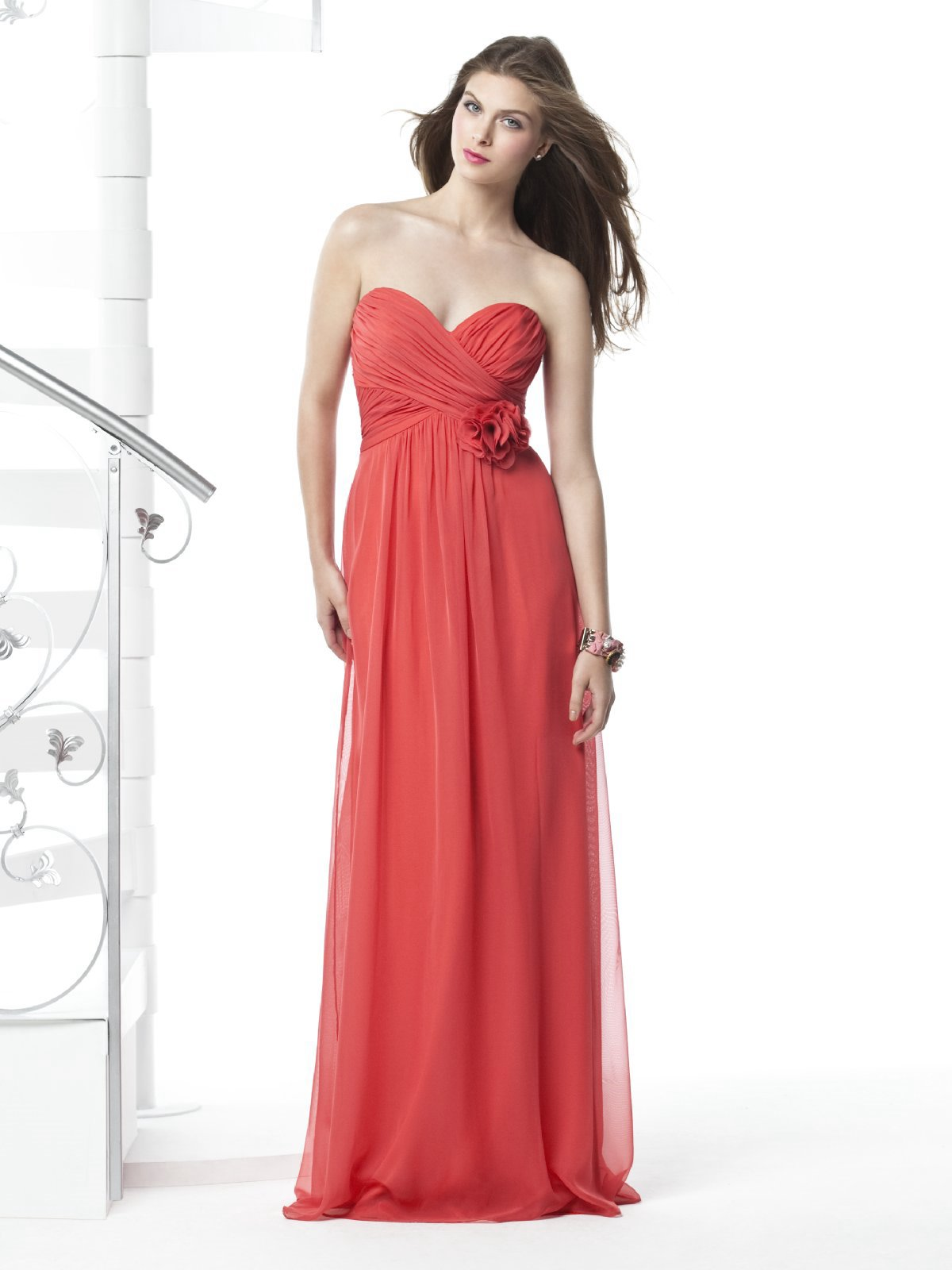Watermelon Empire Sweetheart Strapless Zipper Pleated Floor Length Prom Dresses With Flowers