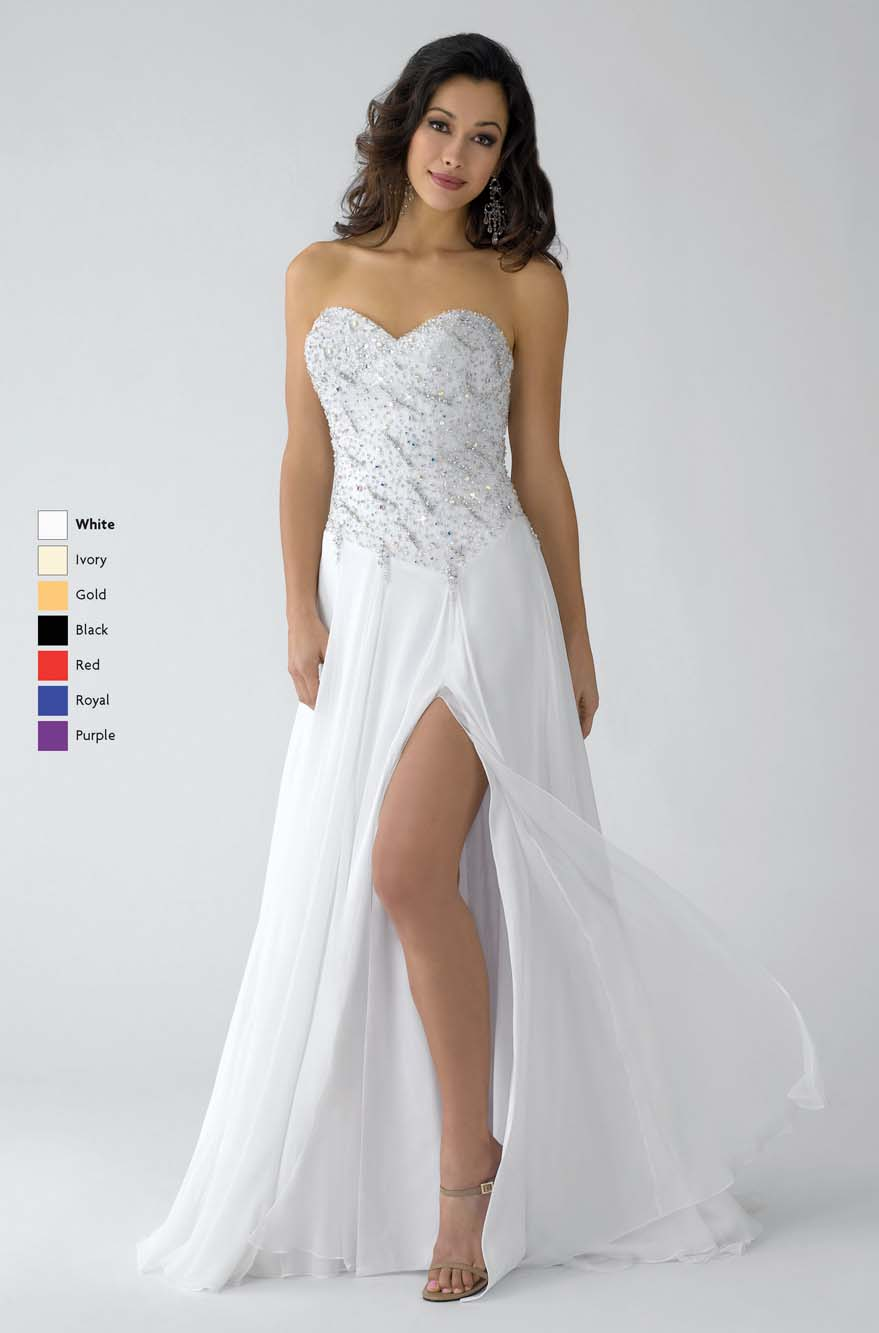White A Line Strapless Sweetheart Zipper Full Length Chiffon Prom Dresses With Beadings And High Slit