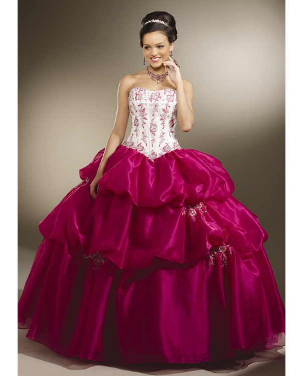 White And Fuchsia Ball Gown Strapless Lace Up Full Length Quinceanera Dresses With Appliques And Ruffles