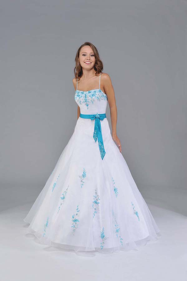 White A Line Spaghetti Straps Low Back Zipper Floor Length Quinceanera Dresses With Turquoise Embroidery And Sash