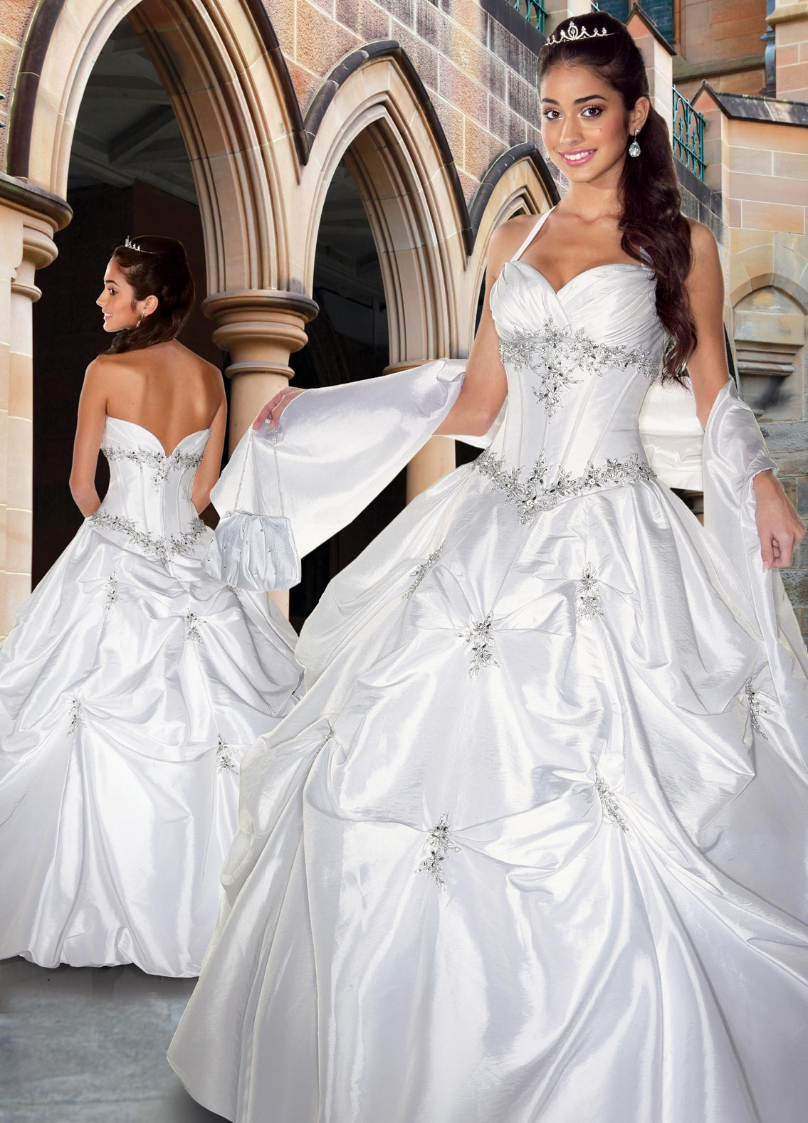 White Ball Gown Halter And Sweetheart Zipper Full Length Satin Quinceanera Dresses With Beading Embroidery