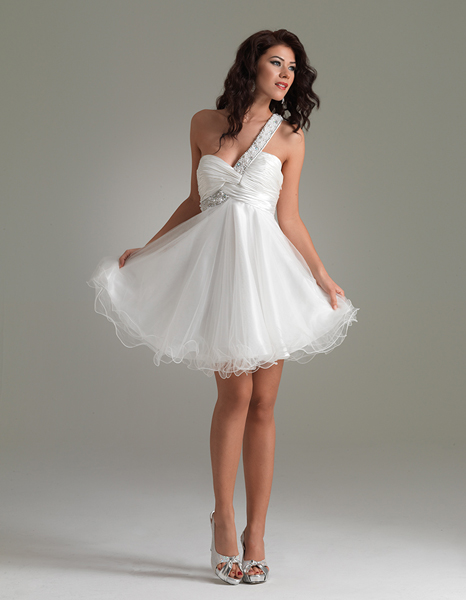 White One Shoulder Empire Mini Length Cocktail Dresses With Ruffles And Beads
