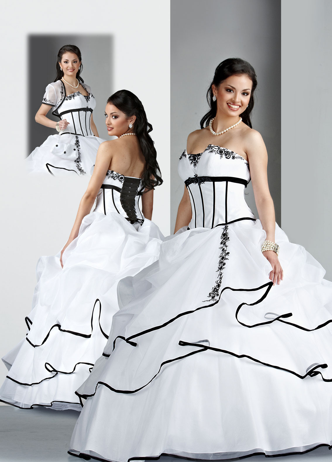 White Ball Gown Strapless Lace Up Full Length Quinceanera Dresses With Black Embroidery And Ruffles