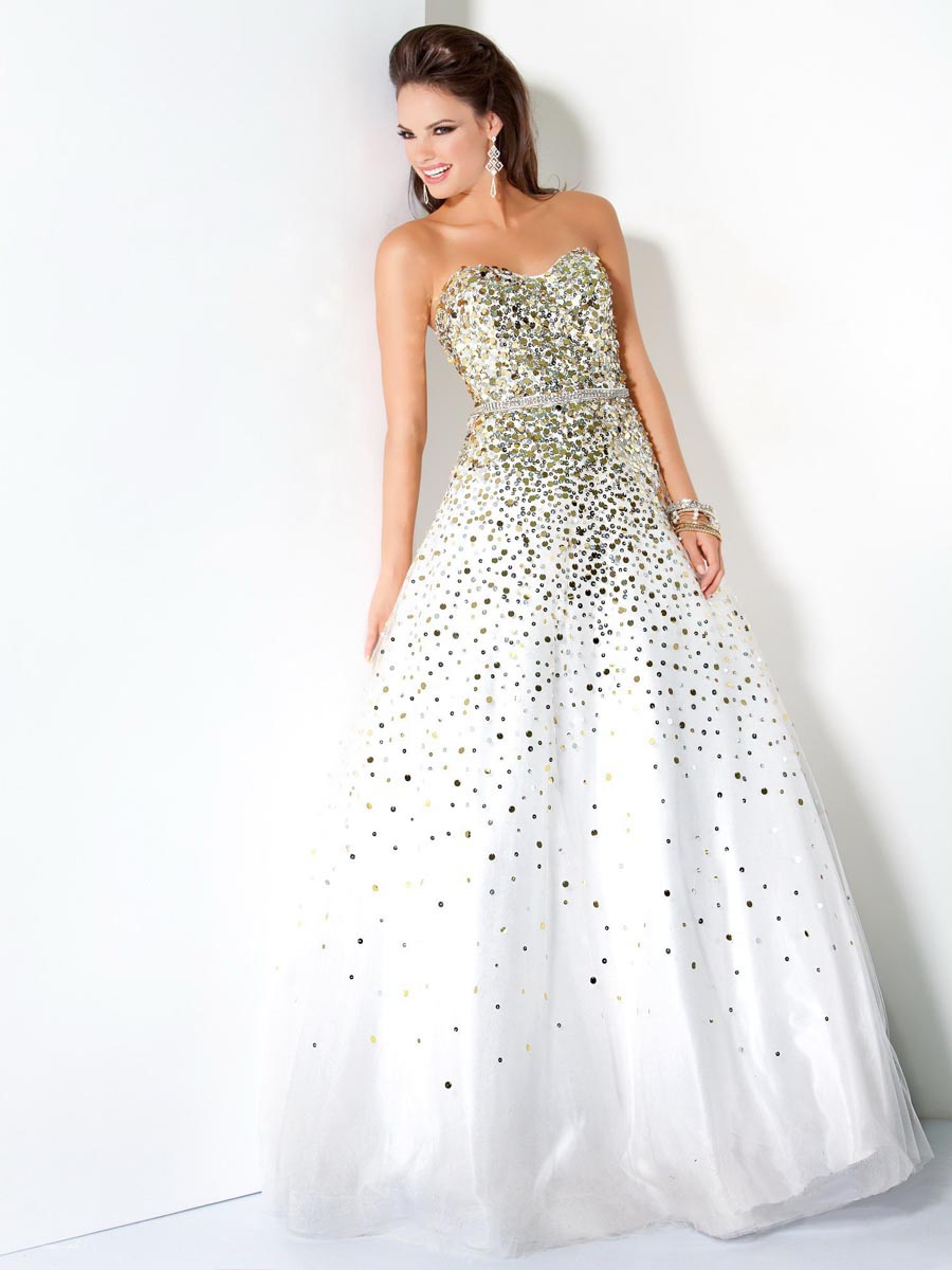 White A Line Sweetheart Floor Length Zipper Evening Dresses With Sequins
