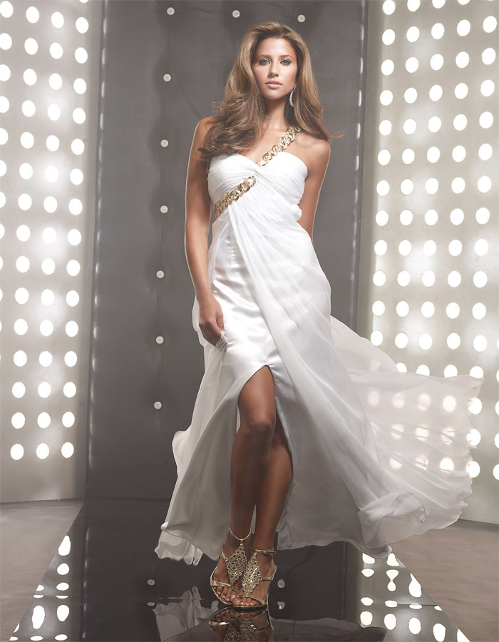 White Column One Shoulder Floor Length Slit Sweep Brush Train Evening Dresses With Ruffles