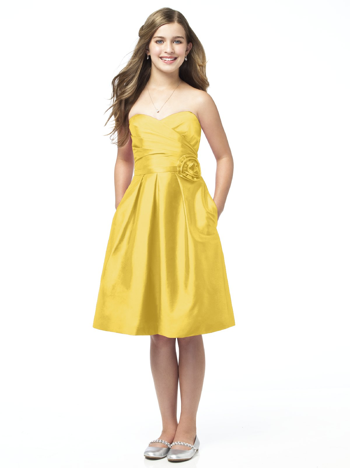 Yellow A Line Strapless Sweetheart Zipper Knee Length Satin Prom Dresses With Flowers And Pockets