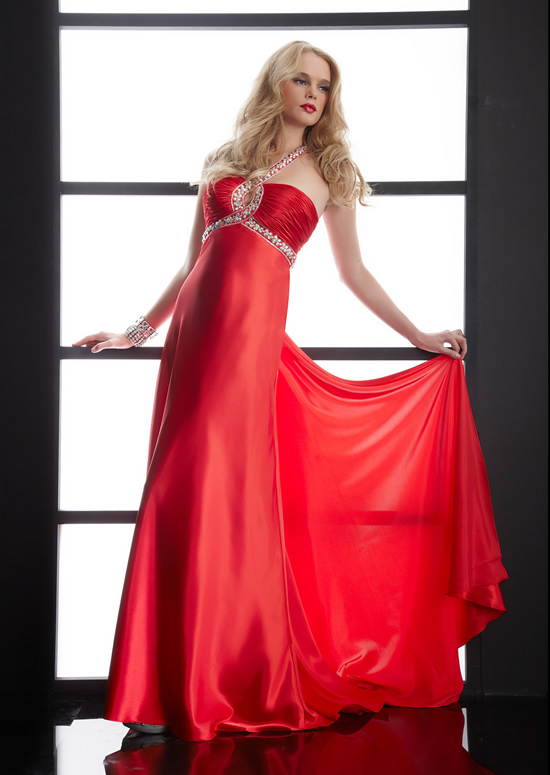 Red Sheath Halter Open Back Sweep Train Floor Length Satin Evening Dresses With Beading