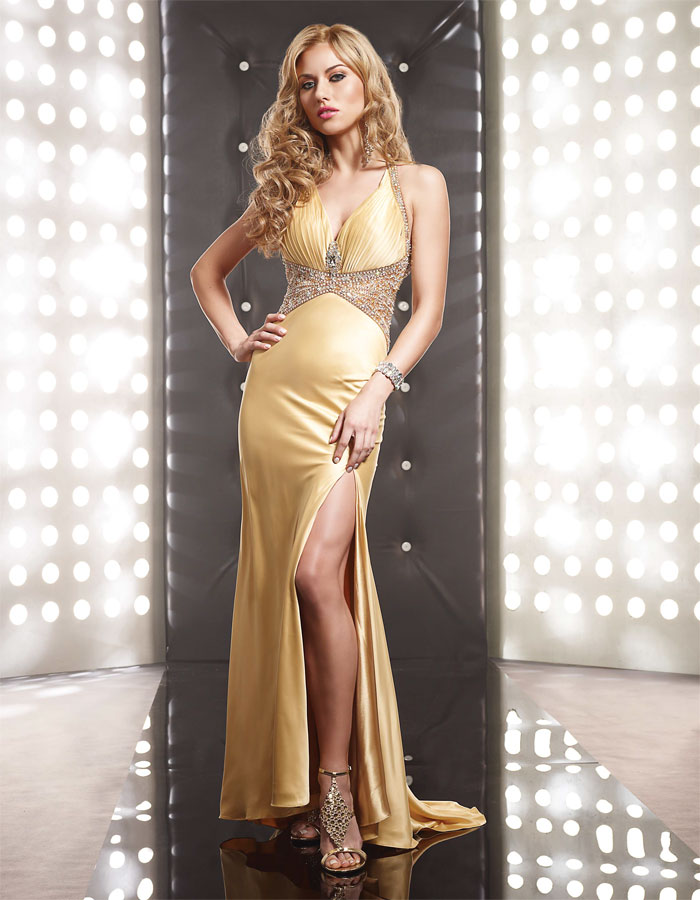 Yellow Trumpet Mermaid V Neck Floor Length High Slit Sweep Brush Train Beaded Evening Dresses