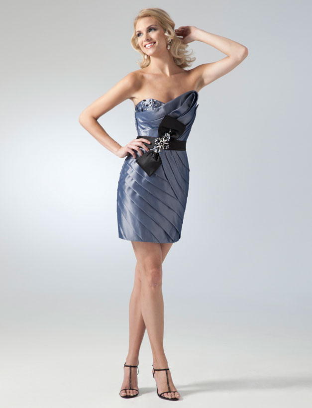 Asymmetric Neckline Satin Ruched Cocktail Dresses With Black Sash