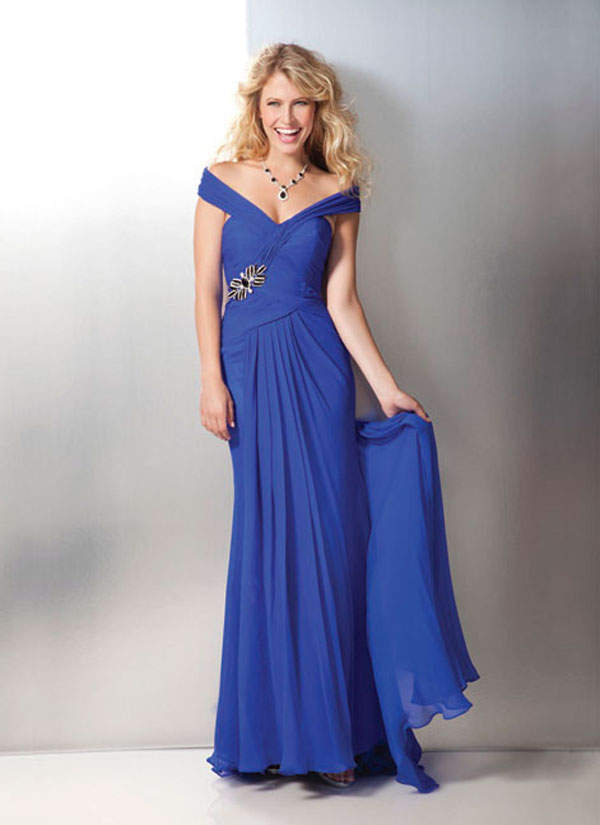 Royal Blue Off Shoulder Floor Length Chiffon Formal Dresses With Beadings