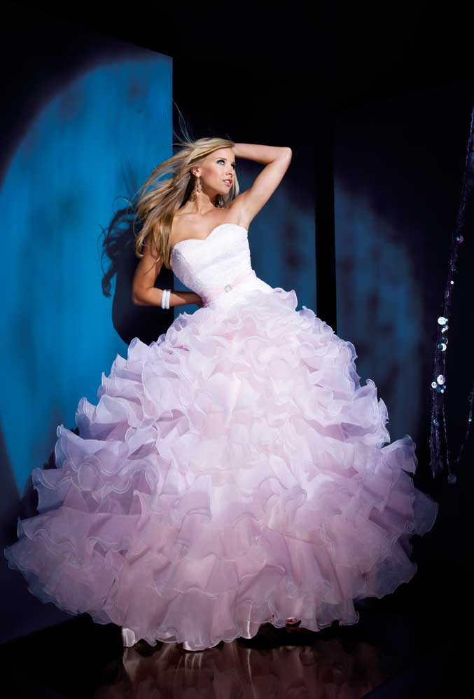 Top Sale Full Length Sweetheart Pink Organza Ball Gown
