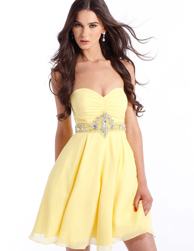 Yellow Strapless And Sweetheart Mini Skirt Chiffon Formal Dresses With Beadings