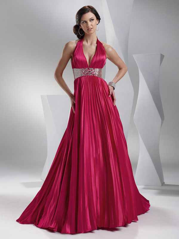 Deep Rose Empire Halter And Deep V Neck Backless Sweep Train Floor Length A Line Pleated Evening Dresses