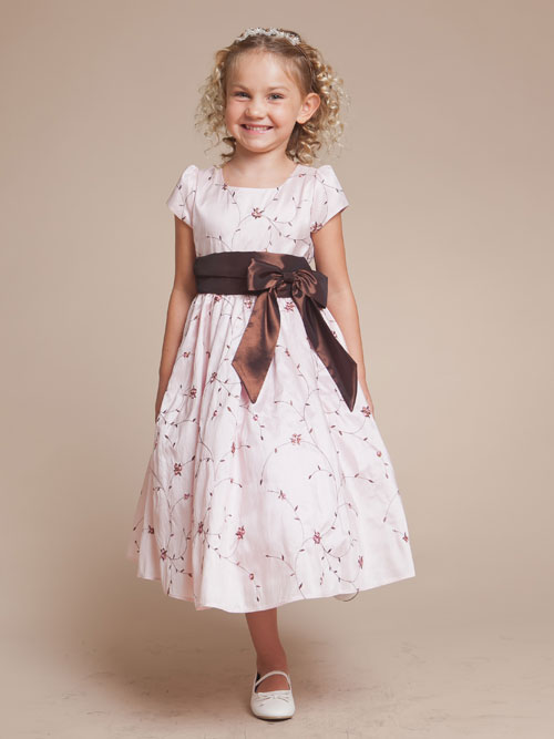 Pink Square Neck Short Sleeves Tea Length Printed A Line Flower Girl Dresses With Chocolate Sash