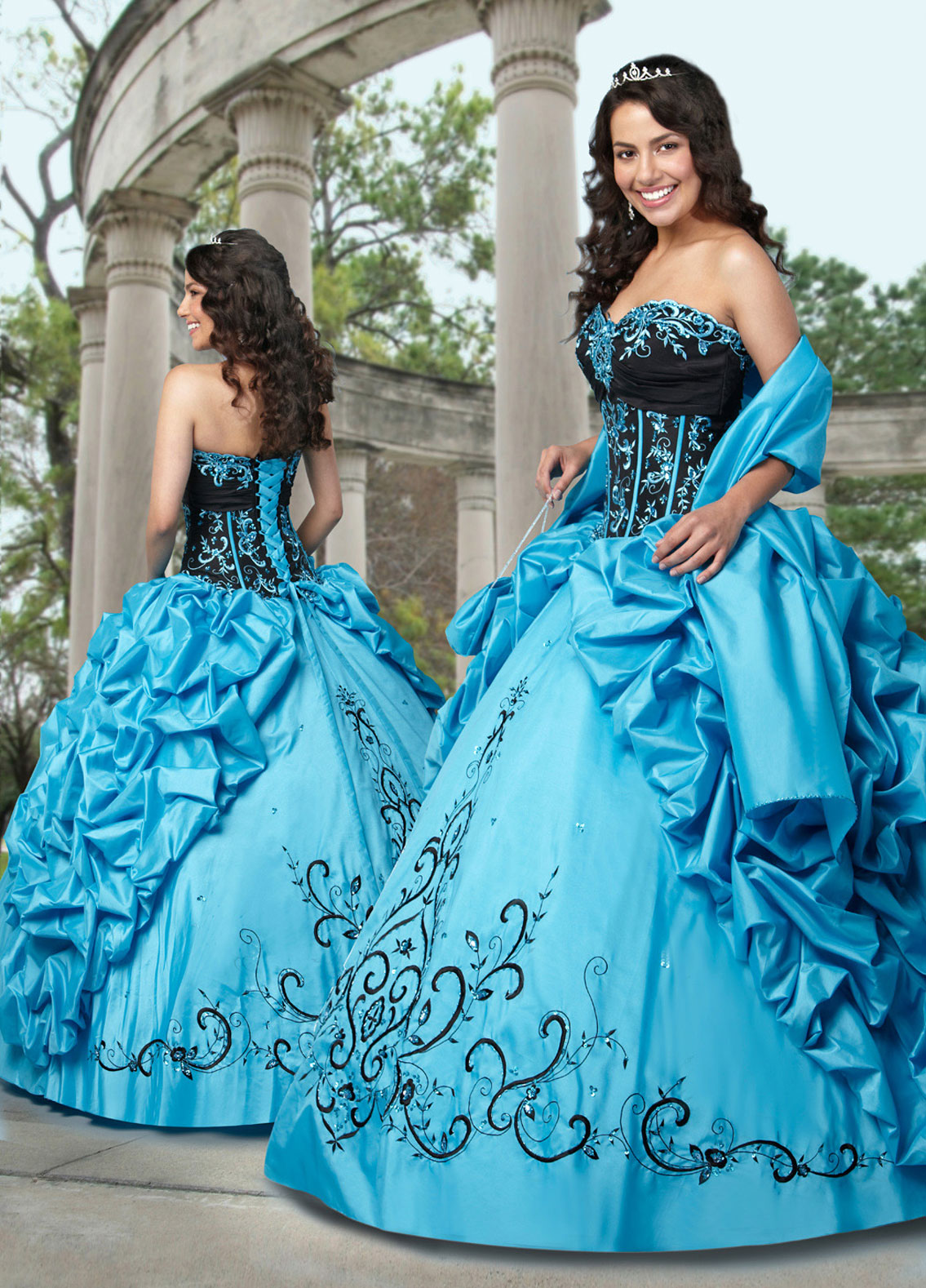 Turquoise And Black Ball Gown Strapless Sweetheart Full Length Quinceanera Dresses With Embroidery And Ruffles