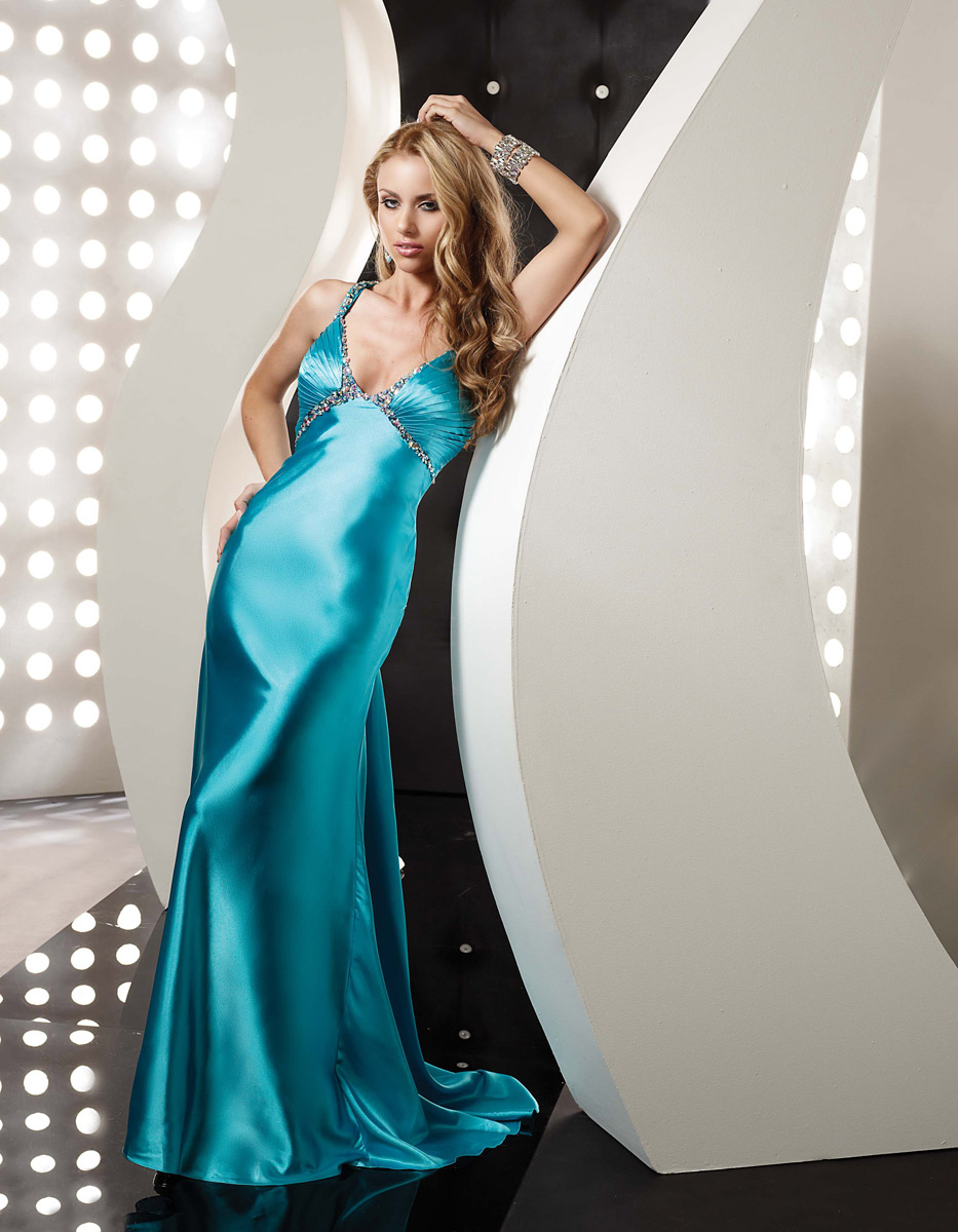 Turquoise Empire V Neck Cross Back Sweep Train Full Length Evening Dresses With Beading And Drapes
