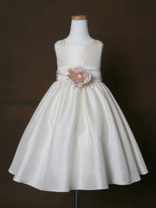 Ivory Bateau Zipper Ankle Length A Line Flower Girl Dresses With Flower And Bowknot