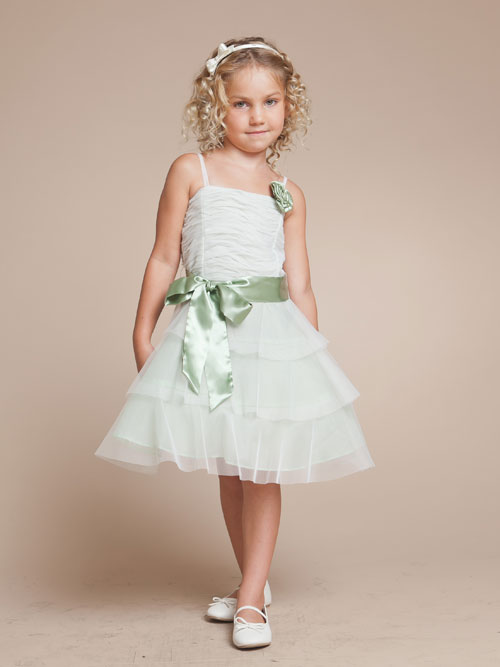 White A Line Spaghetti Straps Zipper Knee Length Tiered Flower Girl Dresses With Sage Sash