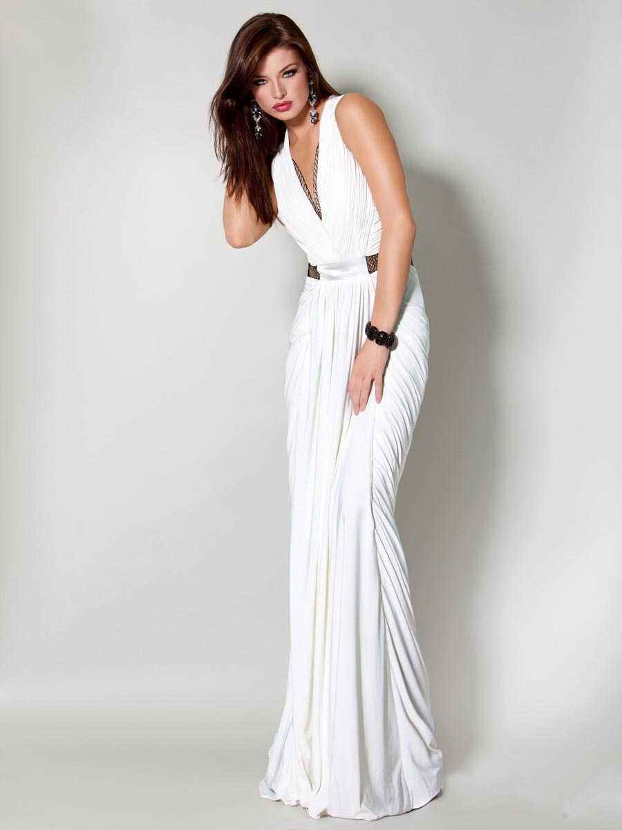 White Column Deep V Neck Transparent Waist Draped Floor Length Celebrity Dresses